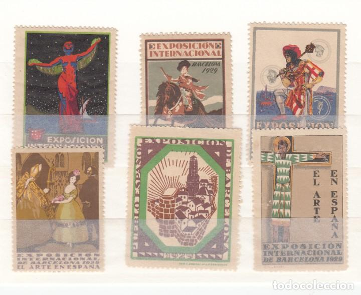 6 VIÑETAS EXPOSICION INTERNACIONAL DE BARCELONA 1929 (Sellos - Extranjero - Viñetas)