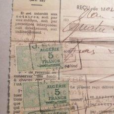 Sellos: ORÁN RECIBO NOTARÍA ALGERIA 1965. Lote 202587317