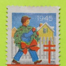 Sellos: VIÑETA ESTADOS UNIDOS GREETINGS 1945, SALUDOS 1945. Lote 223284817