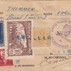 Sellos: FISCALES - DOCUMENTO CON POLIZAS DE TURISMO,FALANGE, BARCELONA Y FISCAL. Lote 227570520