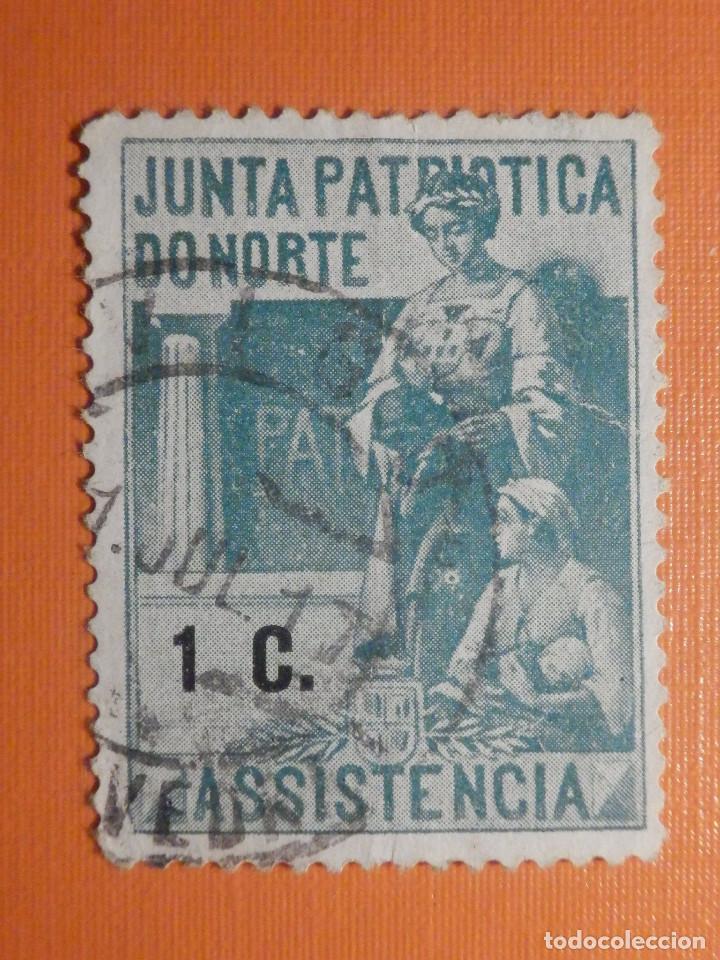 VIÑETA - BENEFICENCIA - JUNTA PATRIOTICA DO NORTE - ASSISTENCIA - 1 C. CTS - CÉNTIMO VERDE (Sellos - Extranjero - Viñetas)