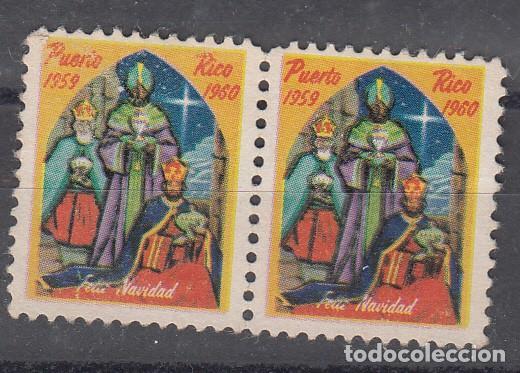 PUERTO RICO. VIÑETA EN PAREJA. FELIZ NAVIDAD 1960. (Sellos - Extranjero - Viñetas)