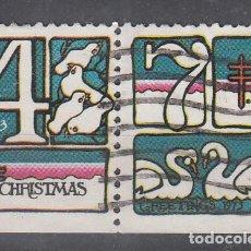 Sellos: VIÑETA EN PAREJA. CHRISTMAS, GREETING 1973.. Lote 235812450