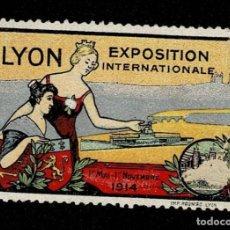 Sellos: CL8 VIÑETA DE LA EXPOSITION INTERNATIONALE DE LYON 1ER MAI - 1ER NOVEMBRE 1914 LA DE LA FOTO VER. Lote 235989735