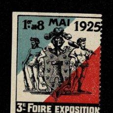 Sellos: CL8 VIÑETA DE LA 3E FOIRE EXPOSITION DE NIORT 1E AU 8 MAI 1925. Lote 235991775