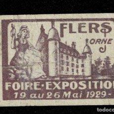 Sellos: CL8 VIÑETA DE LA FOIRE EXPOSITION DE FLERS ORNE 19 AU 26 MAI 1929. Lote 235993655
