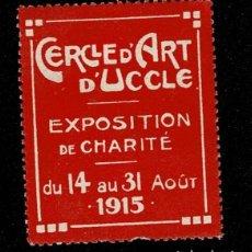 Sellos: CL8 VIÑETA DEL CERCLE D'ART D'UCCLE EXPOSITION DE CHARITE DE 14 AU 31 AOUT 1915 COLOR ROJO. Lote 235994365