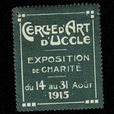 Sellos: CL8 VIÑETA DEL CERCLE D'ART D'UCCLE EXPOSITION DE CHARITE DE 14 AU 31 AOUT 1915 COLOR VERDE. Lote 235994650