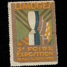 Sellos: CL8-1 VIÑETA DE LA 3E FOIRE EXPOSITION DE LIMOGES 18 MAI -2 JUIN 1929. Lote 236011620