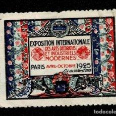 Sellos: CL8-1 VIÑETA DE LA EXPOSITION INTERNATIONALE DES ARTS DECORATIFS ET INDUSTRIELS MODERNES - PARIS AVR. Lote 236012445