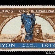 Sellos: CL8-1 VIÑETA DE LA EXPOSITION INTERNATIONALE LYON 1ER MAI -1ER NOVEMBRE 1914 VER. Lote 236012795
