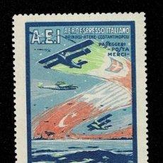 Sellos: CL8-1 VIÑETA DEL A.E.I. AEROESPRESO ITALIANO PER LA TURCHIA E LA GRECIA USATE LA POSTA AEREA. Lote 236014715