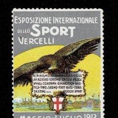Sellos: CL8-2 VIÑETA DE LA ESPOSIZIONE INTERNAZIONALE DELLO SPORT VERCELLI MAGGIO-LUGLIO 1913. Lote 236018990