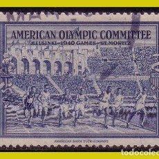 Timbres: VIÑETA PUBLICITARIA, EEUU, COMITÉ OLÍMPICO AMERICANO 1940 HELSINKI ST MORITZ (O). Lote 239772820