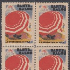 Sellos: VIÑETAS SALOU- BLOQUE DE 4 BANYS DE SALOU A 9 KILOMETRES DE REUS.. Lote 252789490