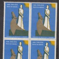 Sellos: VIÑETAS SALOU- BLOQUE DE 4 VISITE SALOU - PLAYA DE EUROPA. Lote 252789720