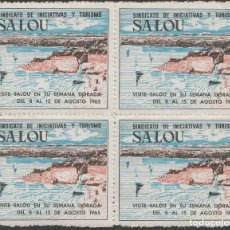 Sellos: VIÑETAS SALOU- BLOQUE DE 4 VISITE SALOU EN SU SEMANA DORADA 1965. Lote 252789915