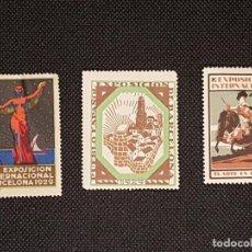 Sellos: LOTE DE 3 VIÑETAS DE LA EXPOSICIÓN UNIVERSAL DE BARCELONA DEL AÑO 1929. Lote 253533300