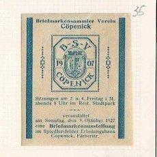 Selos: 35-ALEMANIA VIÑETA BRIEFMARKENSAMMLER VEREIN 1907. Lote 264535679
