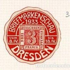 Selos: 36-DRESDEN VIÑETA BRIEFMARKENSCHAU 1933 VOM 8.IV. BIS 18.IV.. Lote 264535829