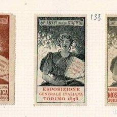 Selos: 133-ITALIA VIÑETAS 50º ANNIV. DELLO STATUTO ESPOSIZIONE GENERALE ITALIANA MOSTRA FILATELICA - TORINO. Lote 264697904