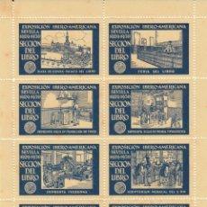 Timbres: VIÑETAS -HOJITA EXPOSICION IBERO-AMERICANA DE SEVILLA 1929 - SECCIÓN DEL LIBRO - PAPEL AMARILLO. Lote 284388993