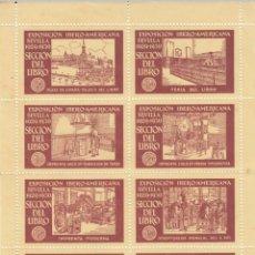 Timbres: VIÑETAS -HOJITA EXPOSICION IBERO-AMERICANA DE SEVILLA 1929 - SECCIÓN DEL LIBRO - PAPEL AMARILLO. Lote 284389158
