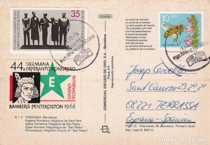 POSTAL CON VIÑETA DE ESPERANTO MATASELLADA EN ALEMANIA DDR - 1966 (Sellos - Extranjero - Viñetas)