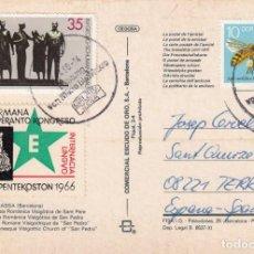 Sellos: POSTAL CON VIÑETA DE ESPERANTO MATASELLADA EN ALEMANIA DDR - 1966. Lote 288945498