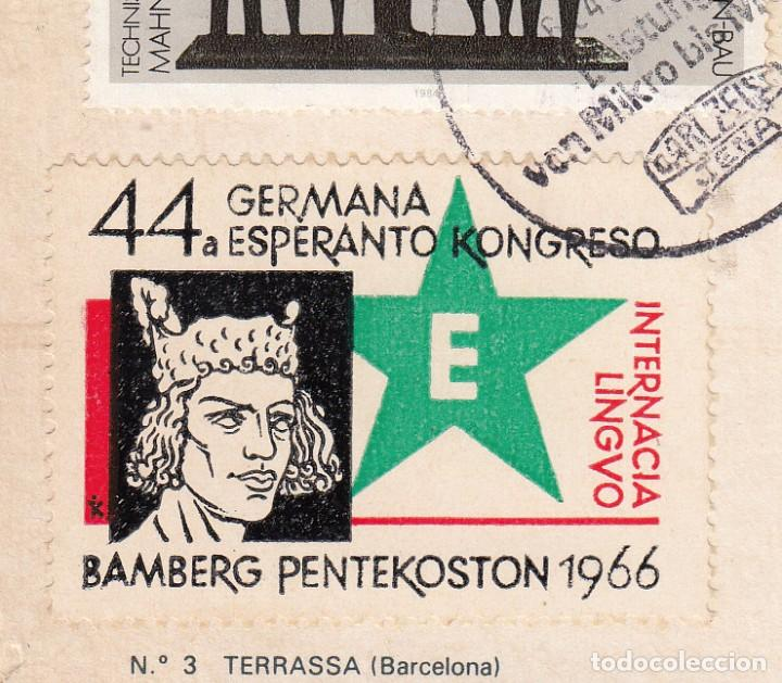 Sellos: POSTAL CON VIÑETA DE ESPERANTO MATASELLADA EN ALEMANIA DDR - 1966 - Foto 2 - 288945498