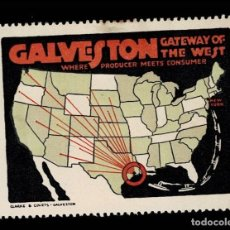 Sellos: F-10-13 VIÑETA USA GALVESTON GATEWAY OF THE WEST. WHERE PRODUCER MEETS CONSUMER CON FIJASELLOS. Lote 292954598