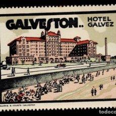 Sellos: F-10-13 VIÑETA USA GALVESTON HOTEL GALVEZ CON FIJASELLOS. Lote 292954833