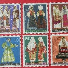 Sellos: YUGOSLAVIA 1964 IVERT 982/87 *** COSTUMBRES REGIONALES - FOLKLORE. Lote 17881794