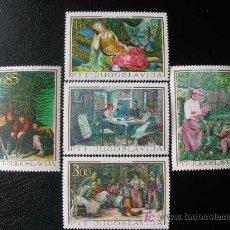 Sellos: YUGOSLAVIA 1967 IVERT 1131/5 *** ARTE NACIONAL A TRAVES DE LOS SIGLOS - PINTURA. Lote 213260553