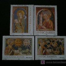 Sellos: YUGOSLAVIA 1989 IVERT 2259/62 *** 500º ANIVERSARIO FRESCOS IGLESIA DE SANTA TRINIDAD - PINTURA. Lote 39639788