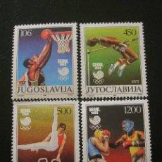 Sellos: YUGOSLAVIA 1988 IVERT 2147/50 *** JUEGOS OLIMPICOS DE SEUL - DEPORTES. Lote 9932954