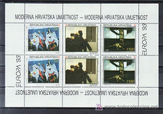 CROACIA HB 10 SIN CHARNELA, TEMA EUROPA 1993, ARTE CONTEMPORANEO, (Sellos - Extranjero - Europa - Yugoslavia)