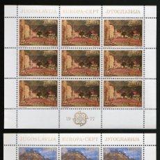 Sellos: YUGOSLAVIA AÑO 1977 YV 1573/74*** 2 HB EN MP - EUROPA - TURISMO - PINTURA - ARTE. Lote 26631811