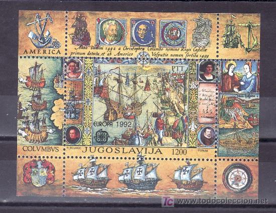 YUGOSLAVIA HB 40 SIN CHARNELA, TEMA EUROPA, BARCO, V CENTENARIO DESCUBRIMIENTO DE AMERICA, (Sellos - Extranjero - Europa - Yugoslavia)