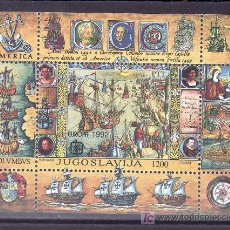 Sellos: YUGOSLAVIA HB 40 SIN CHARNELA, TEMA EUROPA, BARCO, V CENTENARIO DESCUBRIMIENTO DE AMERICA, . Lote 71412657