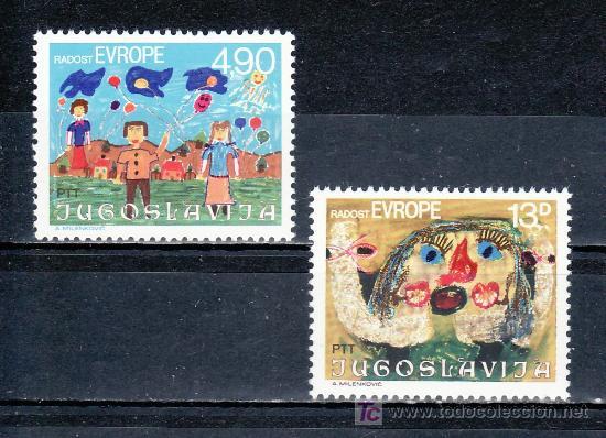 YUGOSLAVIA 1740/1 SIN CHARNELA, ALEGRIA DE EUROPA, 12º REUNION LOS NIÑOS DE EUROPA, DIBUJOS INFANTIL (Sellos - Extranjero - Europa - Yugoslavia)