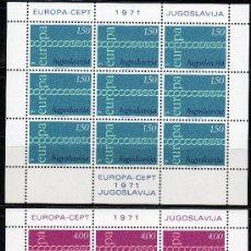 Sellos: YUGOSLAVIA AÑO 1971 YV 1301/02*** 2 HB EN MP - EUROPA. Lote 26143469