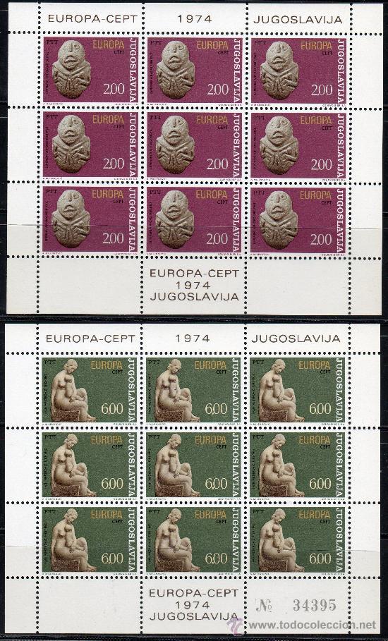 YUGOSLAVIA AÑO 1974 YV 1438/39*** 2 HB EN MP - EUROPA - ESCULTURA - ARTE (Sellos - Extranjero - Europa - Yugoslavia)