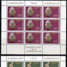 Sellos: YUGOSLAVIA AÑO 1974 YV 1438/39*** 2 HB EN MP - EUROPA - ESCULTURA - ARTE. Lote 27485528