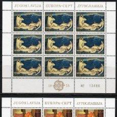 Sellos: YUGOSLAVIA AÑO 1975 YV 1479/80*** 2 HB EN MP - EUROPA - PINTURA - ARTE. Lote 27611344