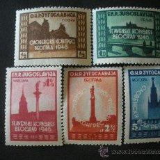 Sellos: YUGOSLAVIA 1946 IVERT 455/9 *** CONGRESO ANTIOCCIDENTAL EN BELGRADO - MONUMENTOS. Lote 30645563