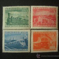Sellos: YUGOSLAVIA 1949 IVERT 523/6 *** CENTENARIO DEL FERROCARRIL - TRENES. Lote 30646490