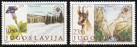 YUGOSLAVIA AÑO 1983 YV 1883/84*** PROTECCIÓN DE LA NATURALEZA Y DEL MEDIO AMBIENTE - FAUNA - FLORA (Sellos - Extranjero - Europa - Yugoslavia)