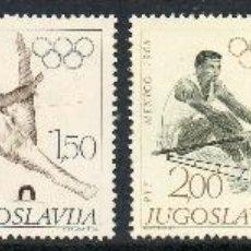 Sellos: YUGOSLAVIA AÑO 1968 YV 1183/88*** JUEGOS OLÍMPICOS DE MÉJICO - DEPORTES. Lote 43587363