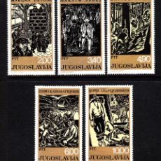 Sellos: YUGOSLAVIA 1643/47** - AÑO 1978 - ESTAMPAS SOCIALES - PINTURA - OBRAS DE MARIJAN DETONI. Lote 205610748